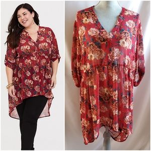🆕 Torrid Lexie red floral tunic